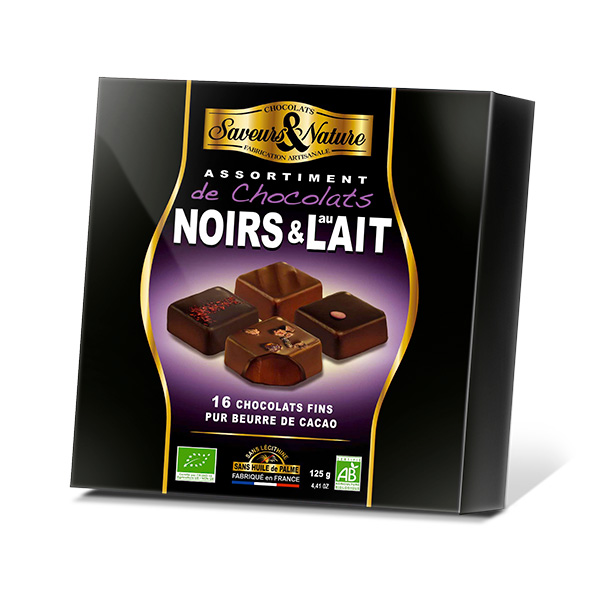 chocolats bio extra-fins noirs et lait 125g - Cadobio