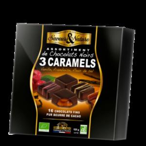 Coffret chocolats noirs 3 caramels bio 125g - Cadobio